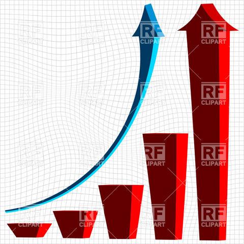 480x480 Growing Symbolic Bar Graph Royalty Free Vector Clip Art Image