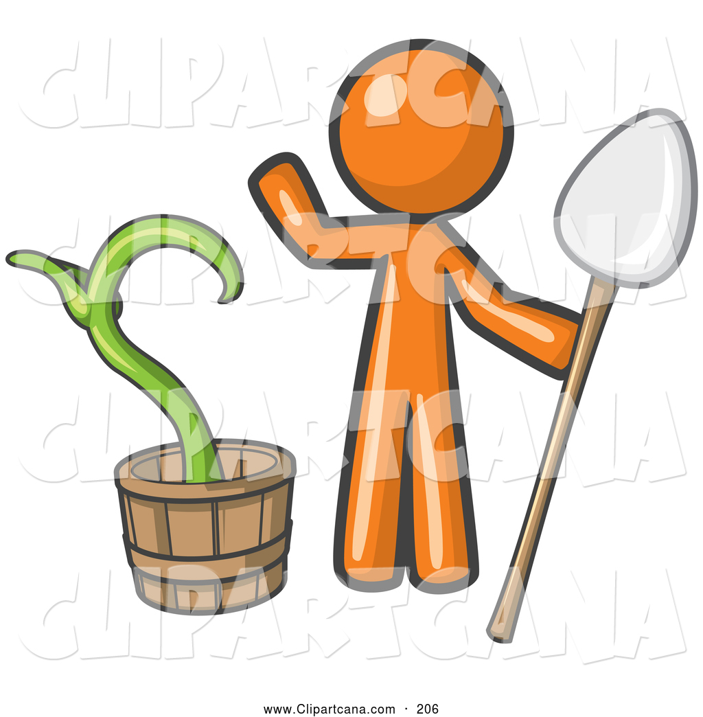 1024x1044 Vector Clip Art Of An Orange Man Holding A Shovel By A Growing