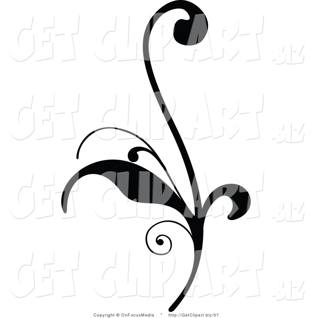 1024x1044 Clip Art Of A Delicate Black Silhouetted Elegant Leafy Scroll