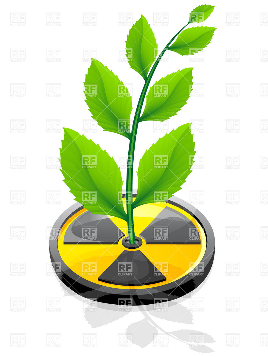 900x1200 Green Plant Growing Out Radiation Sign Royalty Free Vector Clip