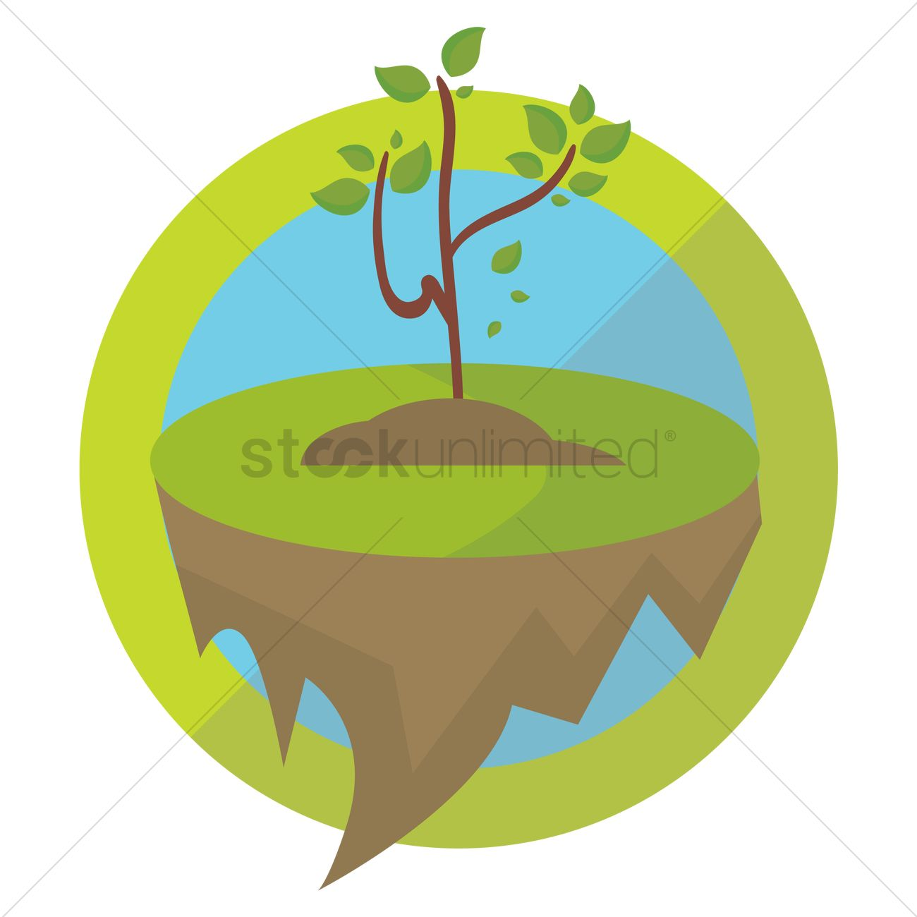 1300x1300 Plant Growing On Floating Ground Vector Image