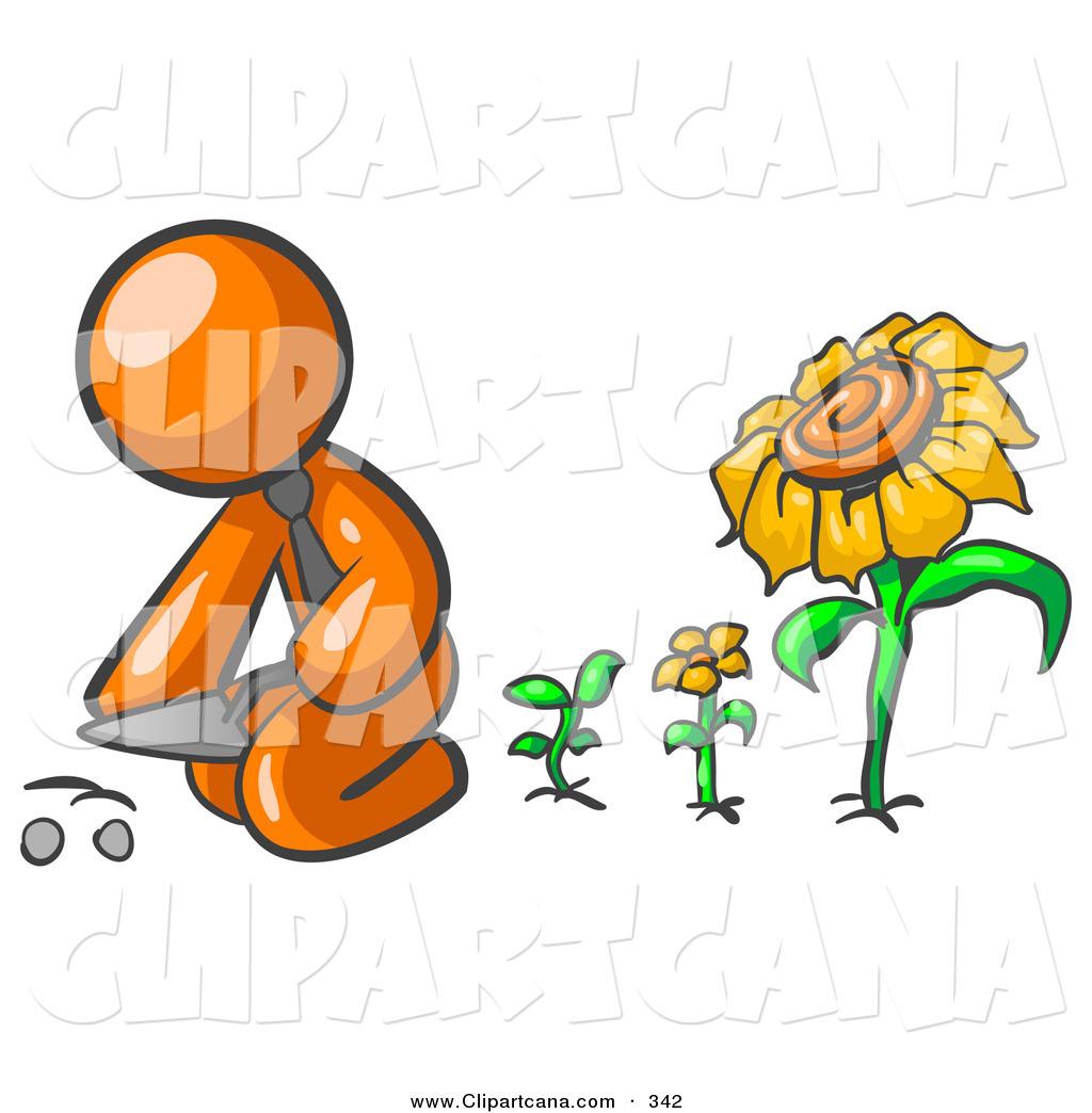 1024x1044 Vector Clip Art Of An Orange Businessperson Kneeling By Growing