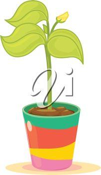 203x350 Clip Art Illustration Of A Pot Plant