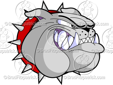 432x324 A Bulldog Head Growling Cartoon Mascot Logo Clip Art Graphic Icon