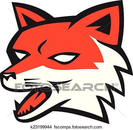 450x439 Clipart Of Red Fox Head Growling Retro K23199944