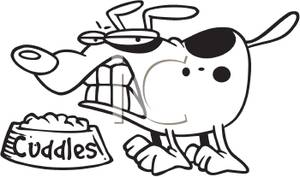 300x177 Coloring Page Of A Dog Growling Over His Food Clip Art Image