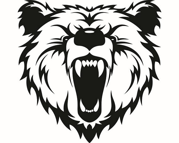 570x457 Grizzly Bear 12 Head Face Animal Growling Mascot Svg Eps