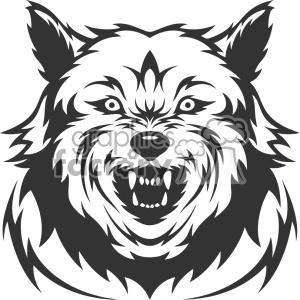 300x300 Royalty Free Mean Wolf Growling Head Vector Art 403144 Vector Clip