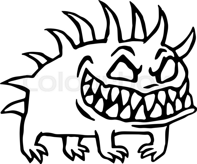 800x667 Small Dog From Hell. Cute Monster Growls. Vector Illustration