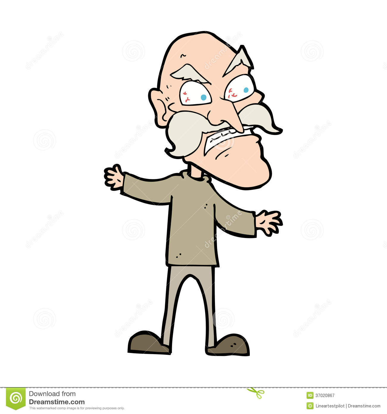 1300x1390 Illistration Clipart Angry Old Man