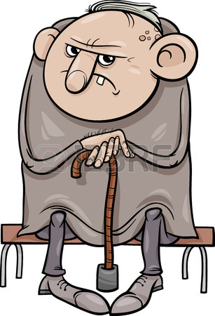 307x450 Cartoon Illustration Of Grumpy Old Man Senior Royalty Free