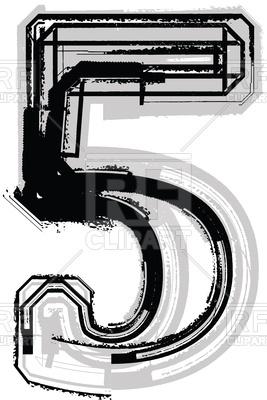 267x400 Number 5 Grunge Font Royalty Free Vector Clip Art Image