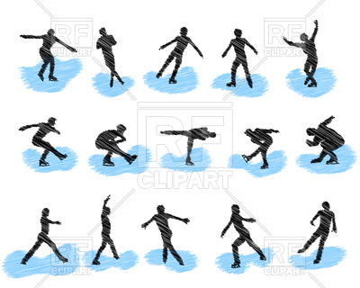400x320 Set Of Figure Skating Grunge Silhouettes Royalty Free Vector Clip