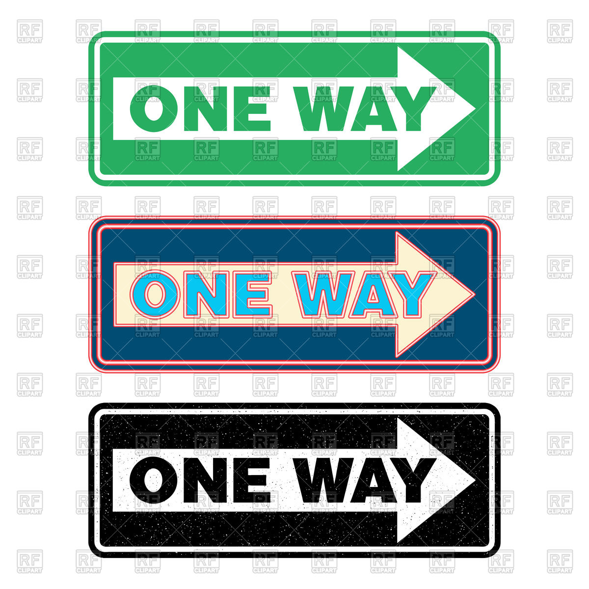 1200x1200 One Way Sign Set, Green, Neon And Grunge Royalty Free Vector Clip
