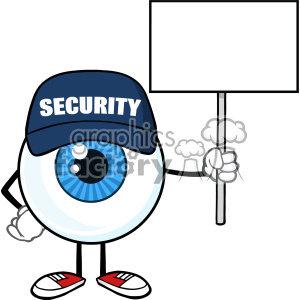 300x300 Royalty Free Blue Eyeball Cartoon Mascot Character Security Guard