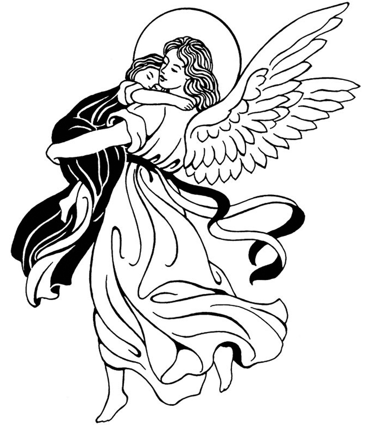 756x864 Guardian Angel Catholic Coloring Page. Feast Of The Guardian