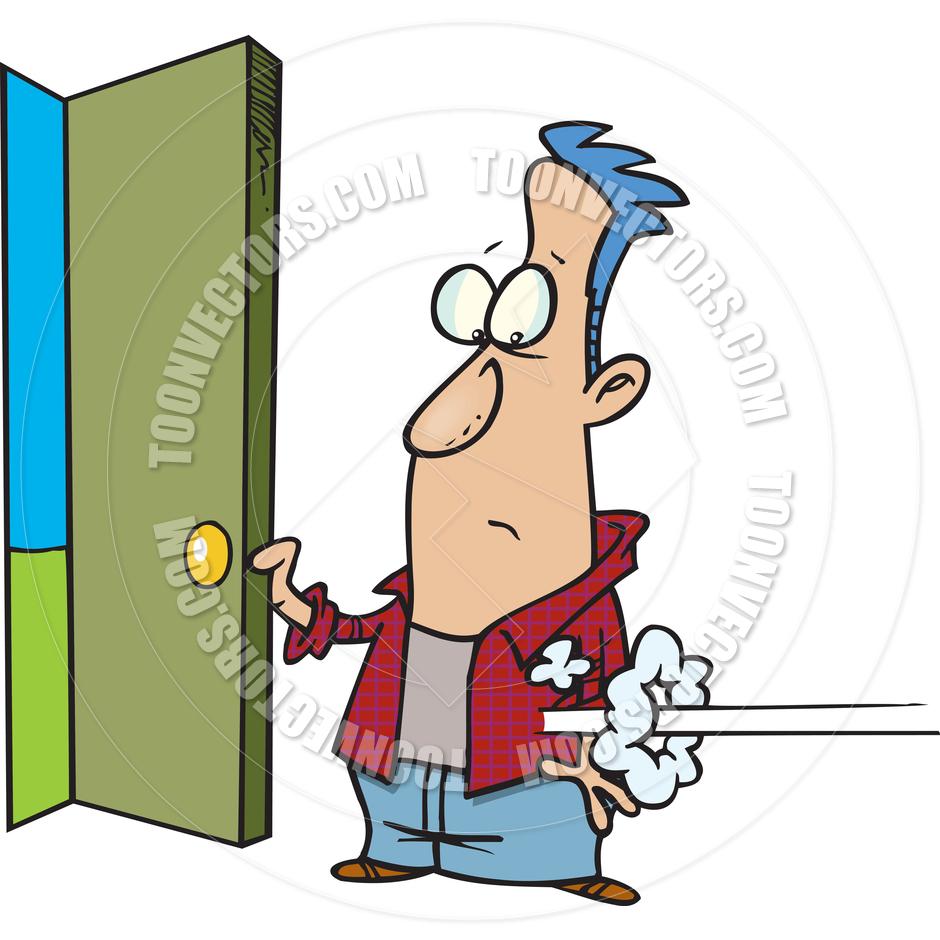 940x940 Cartoon Man Opening The Front Door By Ron Leishman Toon Vectors