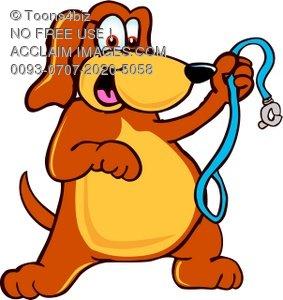 283x300 Illustration Cartoon Pet Dog With Leash
