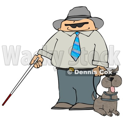 400x400 Man With A Cane And Guide Dog Clipart Illustration Djart