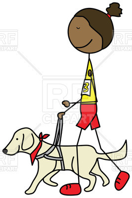 267x400 Cartoon Blind Girl Running With A Guide Dog Royalty Free Vector