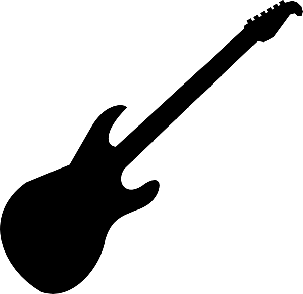 600x581 Free Guitar Clipart Black and White Image