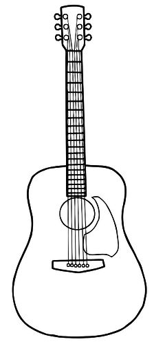 224x500 Guitar Outline Vinyl On The Go Guitar Imprimibles Blanco