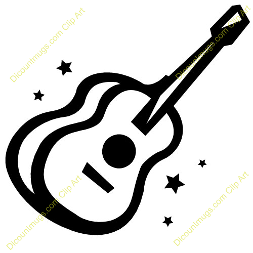 500x500 Black and White Guitar Clip Art