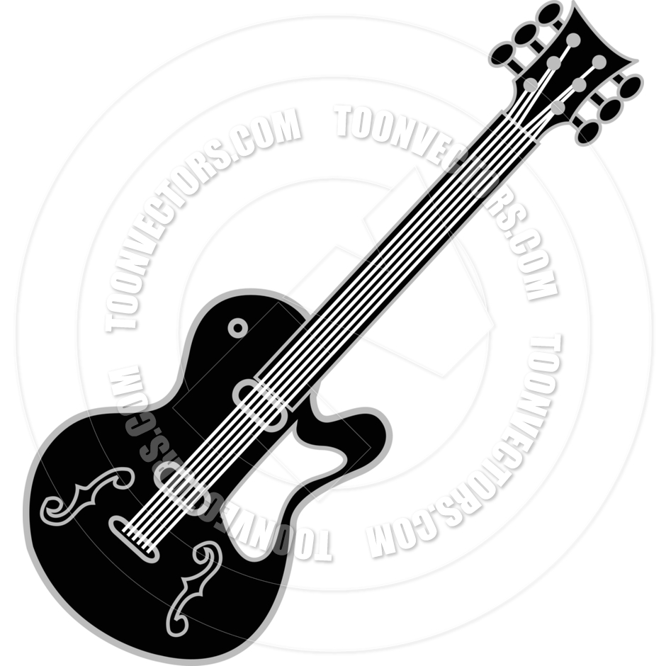 940x940 Cartoon Guitar Vector Illustration by Clip Art Guy Toon Vectors