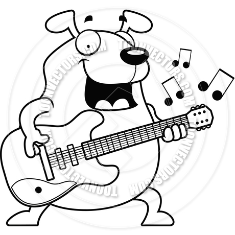 460x460 Cartoon Dog Guitar (Black and White Line Art) by Cory Thoman