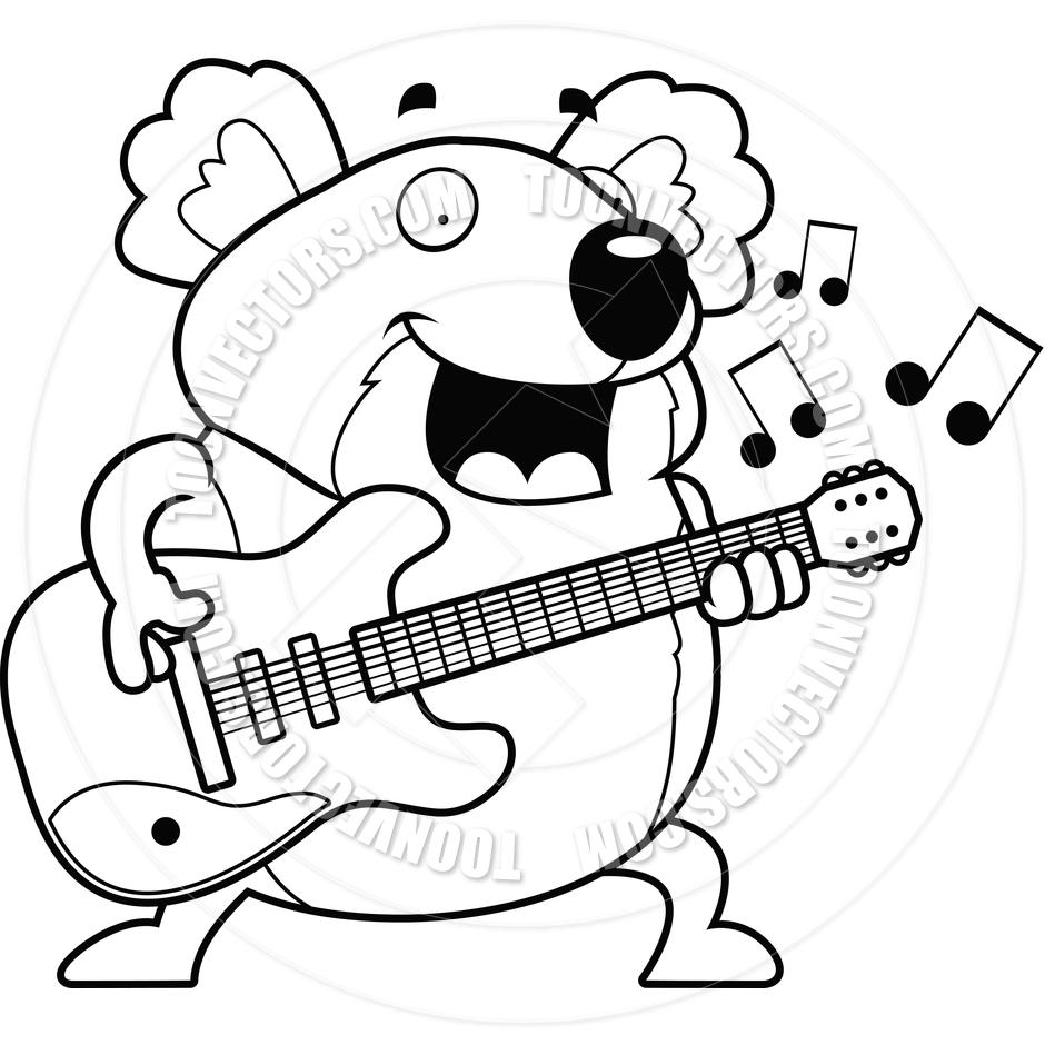 940x940 Cartoon Koala Guitar (Black and White Line Art) by Cory Thoman