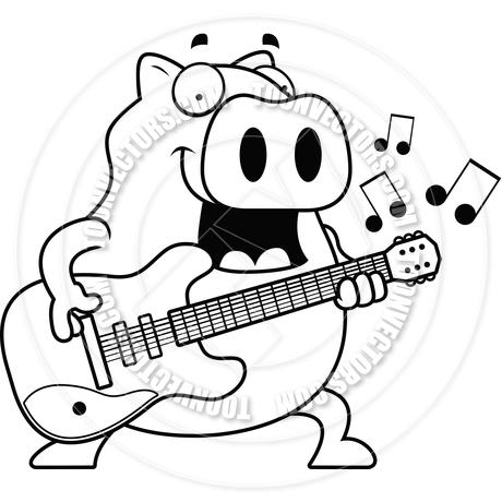 460x460 Cartoon Pig Guitar (Black and White Line Art) by Cory Thoman