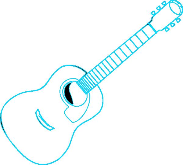 600x540 Guitar Outline Blue Clip Art