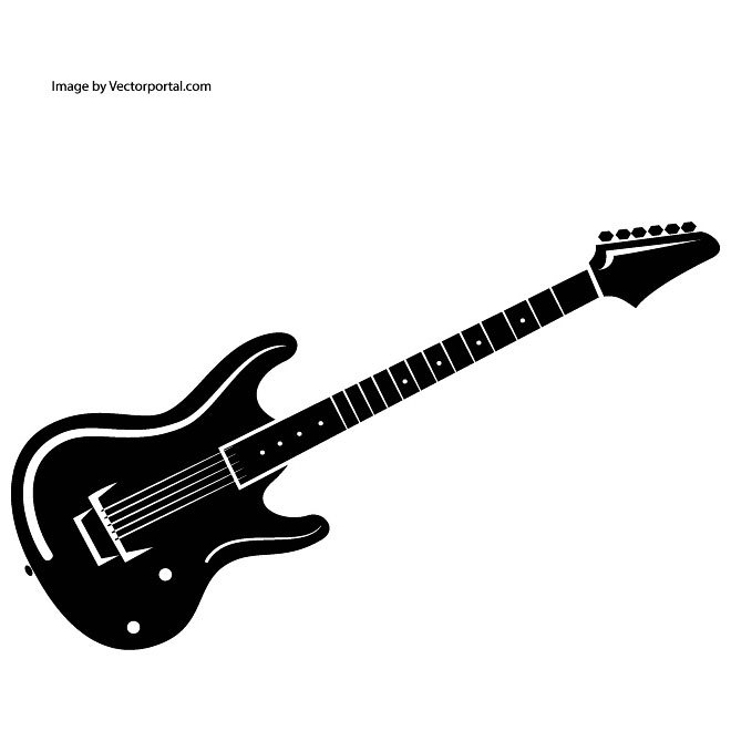 660x660 Guitar clipart black and white