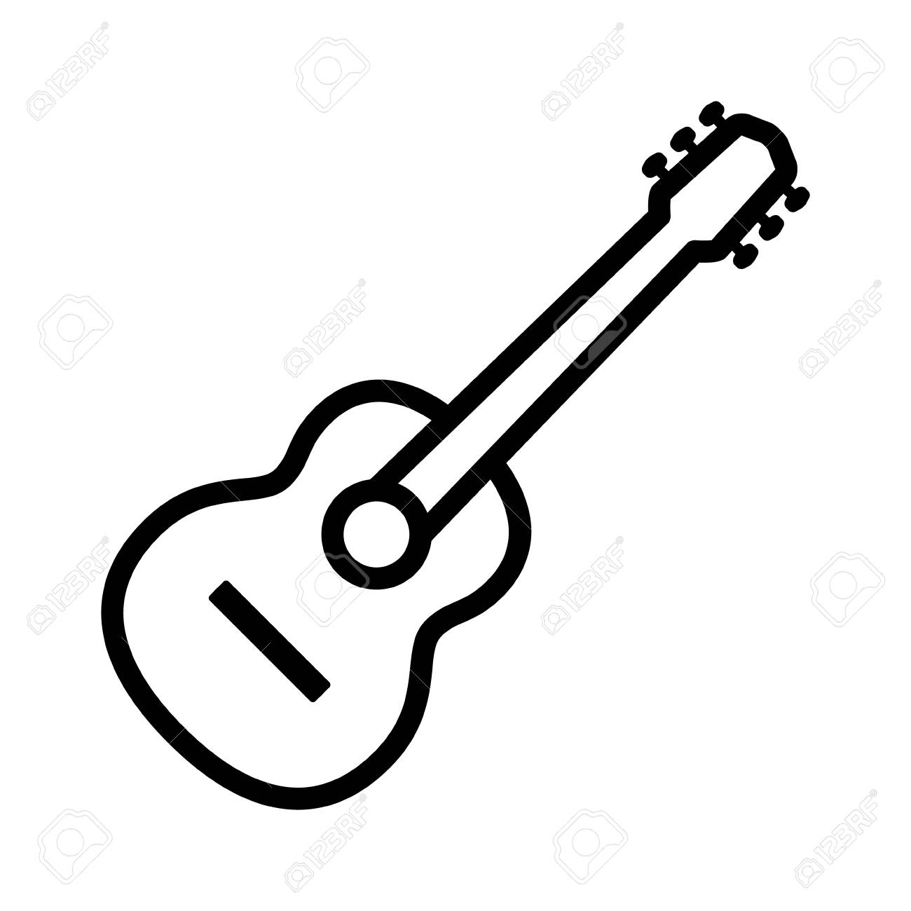 1300x1300 Acoustic Guitar Musical Instrument Line Art Icon For Music Apps