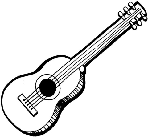 480x445 Acoustic Guitar coloring page Free Printable Coloring Pages