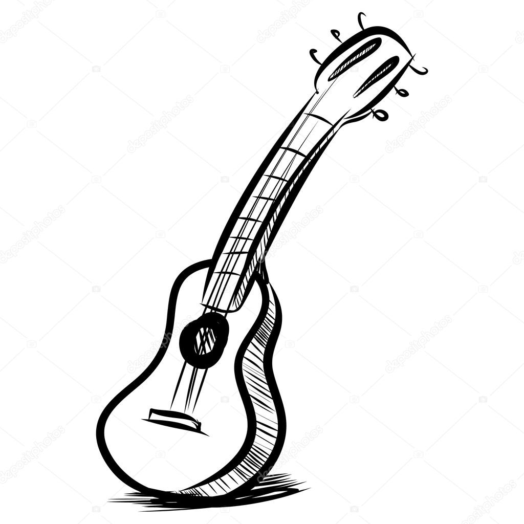 1024x1024 Acoustic guitar fast sketch — Stock Vector © Chuhail