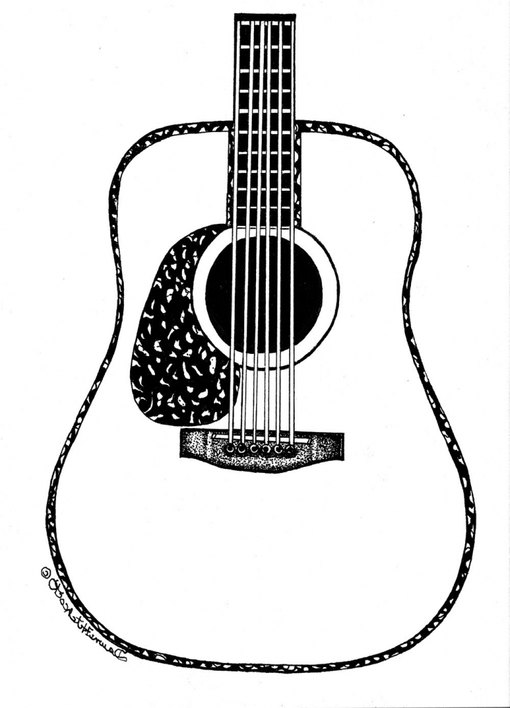 737x1024 Acoustic Guitar Drawing Guitar Outline Clipart Clipart Kid