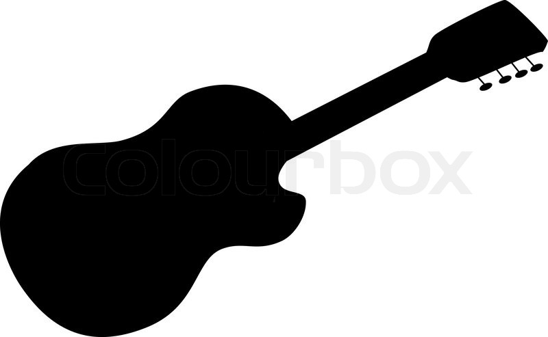 800x493 Musical instrument, acoustic guitar, black silhouette on white