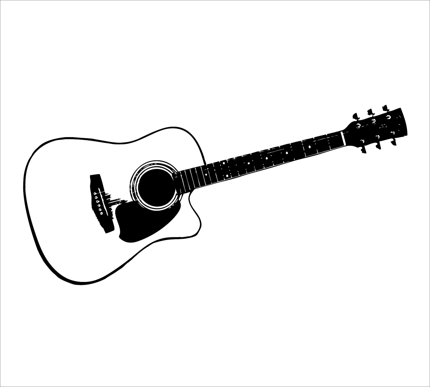 1500x1352 Free Guitar Clipart Outline Image