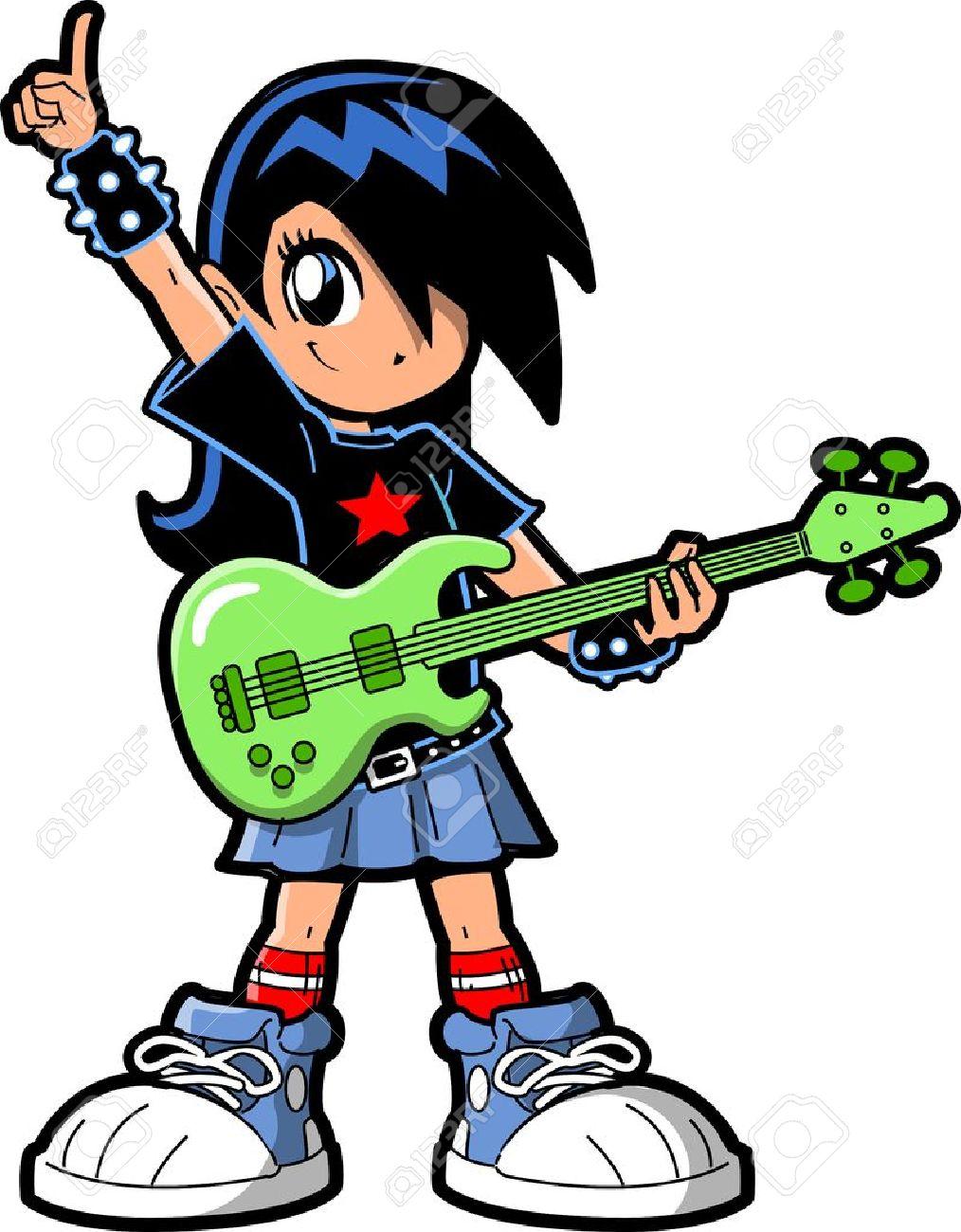 1014x1300 Anime Manga Girl Goth Emo Rock Star Guitar Bass Player Royalty