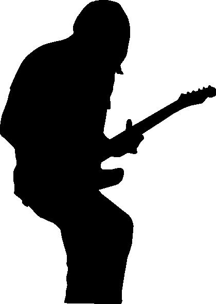 420x592 Black Silhouette Guitarist Clip Art