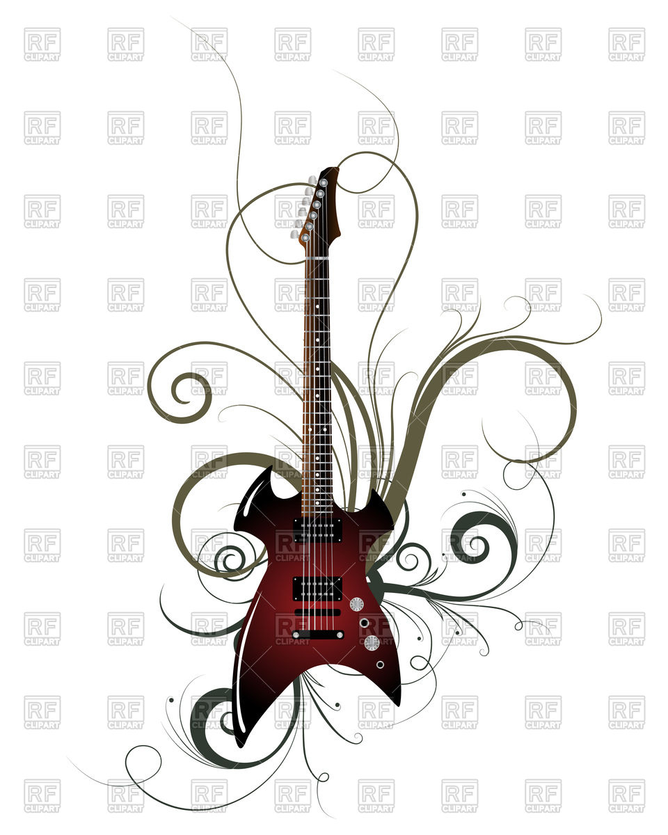 960x1200 Guitar With Curls Royalty Free Vector Clip Art Image