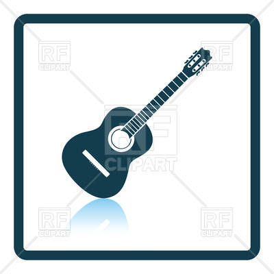 400x400 Shadow reflection design of acoustic guitar icon Royalty Free