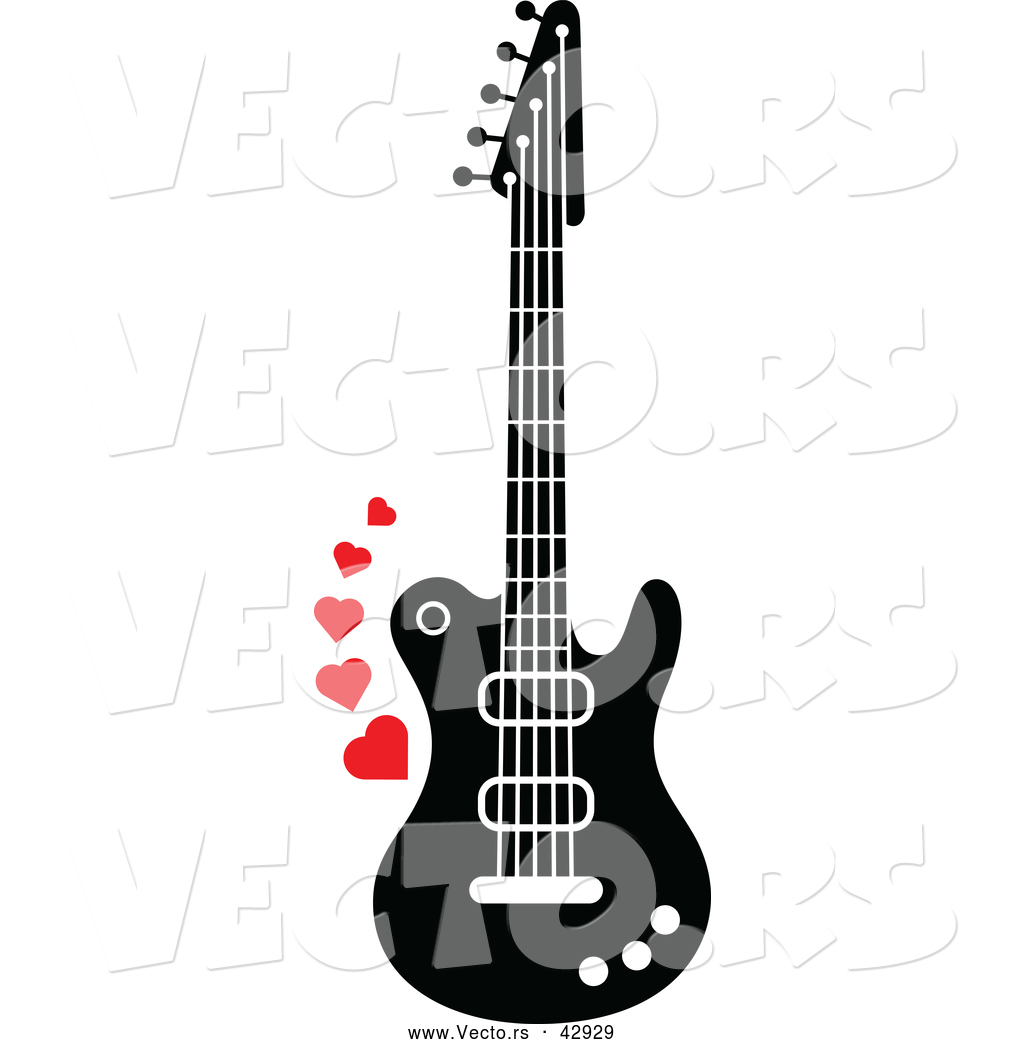 1024x1044 Vector Of A Black And White Electric Guitar With Red Love Hearts