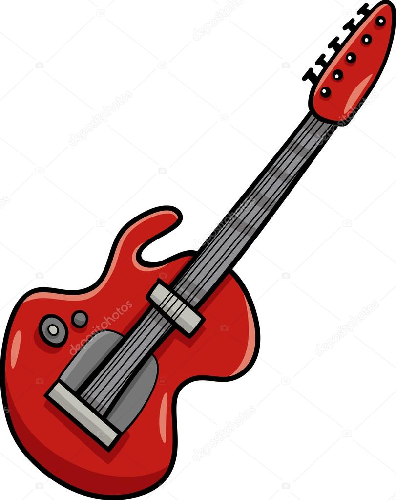 811x1023 electric guitar cartoon clip art — Stock Vector © izakowski