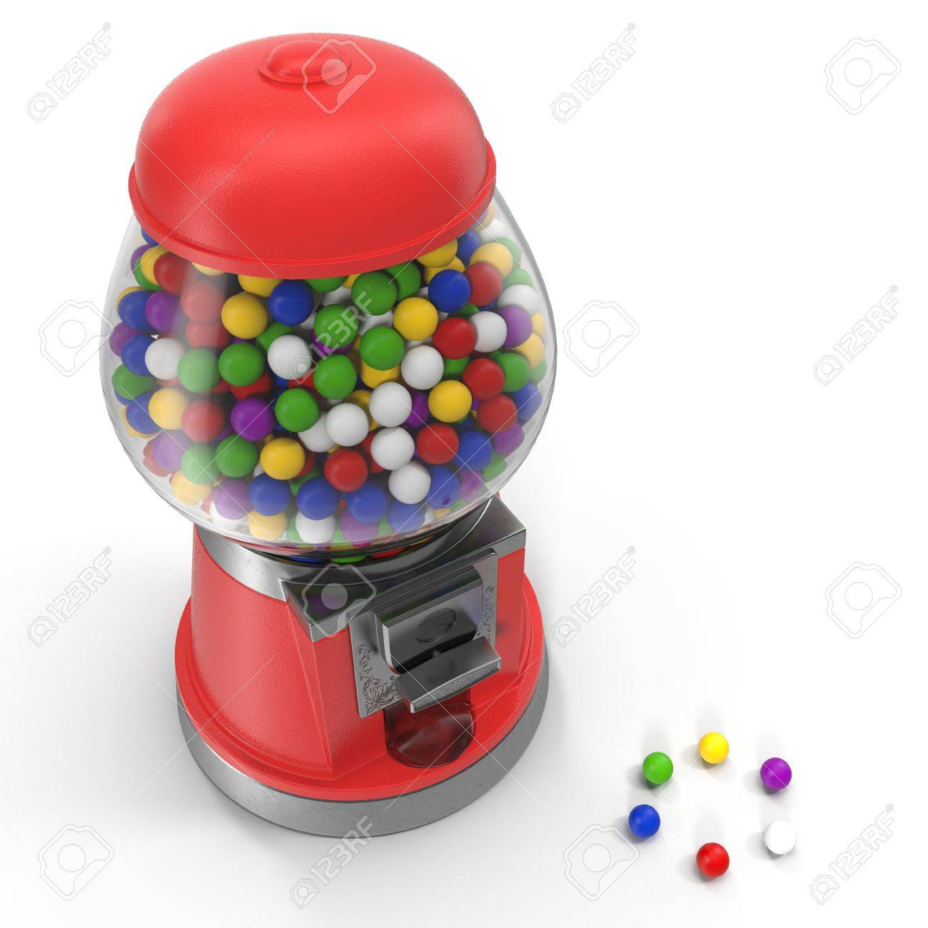 1300x1300 Vintage Red Gumball Machine With Multi Colored Gumballs On White