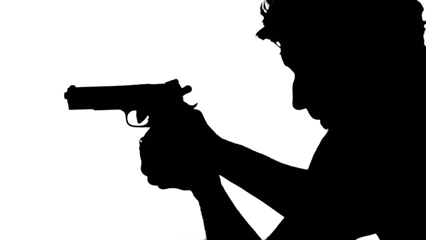 852x480 Gunman Portrait. Silhouette Of A Man Aiming With A Gun Over White