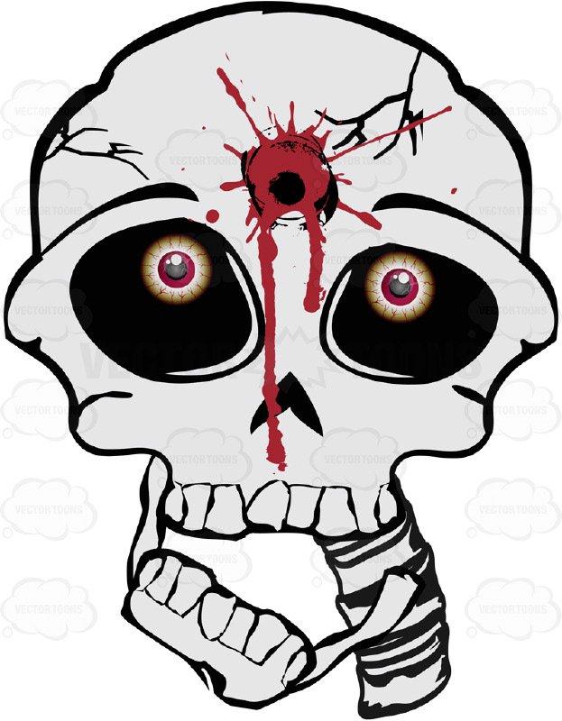 623x800 Cartoon Skull With Gunshot To Forehead Bullet Hole Straight