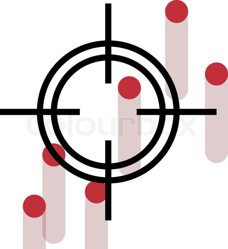 734x800 Cross Hair With Bleeding Gun Shot Holes Stock Vector Colourbox