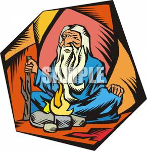291x300 Old, Wise Man Or Guru In A Cave Clipart Image